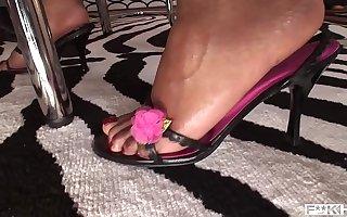 Shrewd interracial foot gender porn with leggy babes Jasmine Webb & C.J.