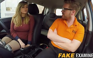 Curvy UK skank Madison Stuart banged convenient driving school car