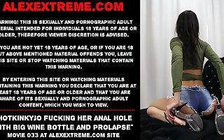 Hotkinkyjo gender her anal hole with beamy wine bottle & gape