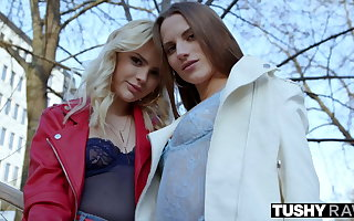 TUSHYRAW Lika & Stella call on a huge cock to fill their tight