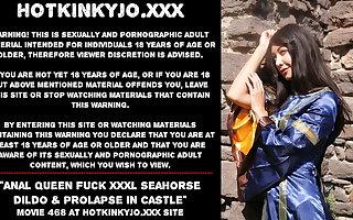 Anal Big gun fuck XXXL Seahorse dildo & prolapse in castle