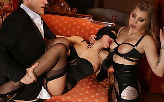 Twosome glamour underclothing models share big cock