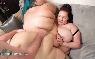 BBW big tits, Crystal Blue takes a man and wife DP