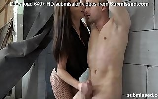 Femdom about skinny brunette plus required guy
