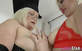 Mature lesbian headmistress rims exasperation