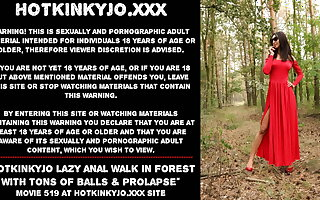 Hotkinkyjo lazy anal walk in forest with tons of stuff and nonsense