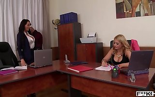 Brunette goddess Patty Michova & Kyra Hot suck their tits during cock ride