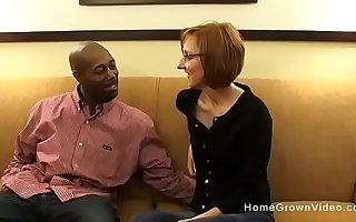Close-mouthed redhead mature gets fucked by a big black dick