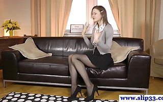 Dressy euro dreamboat rips stockings for fuck
