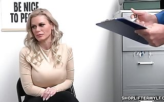 Busty shoplifter MILF Casca Akashova caught thievery tear-drop by an officer. She was offered for sex nearby get her freedom and fucked inside the office.