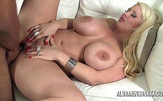Chunky knocker pornstar Alura Jenson loves big black cock